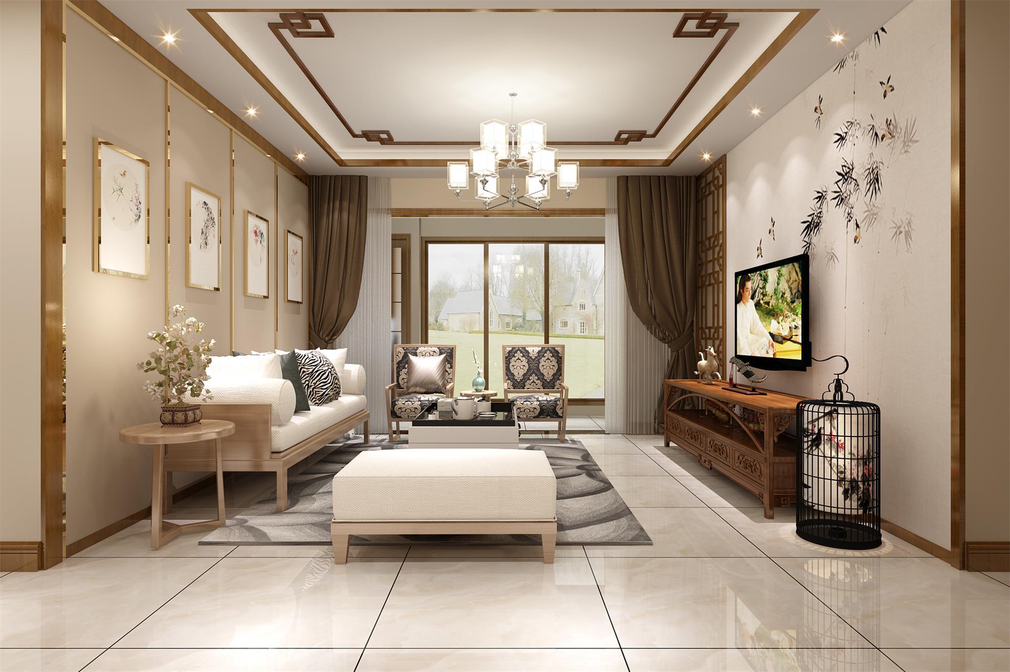 贵阳装饰公司_白晶一号160平米新中式风格,南枝开遍俏窗底